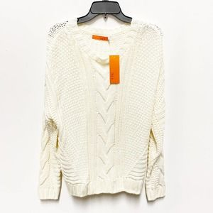 One A Cream Mixed Knit Pullover Crew Neck Sweater